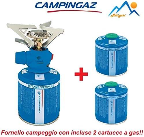 ALTIGASI hornillo de Gas de Camping Twister Plus Unidades – Marca Campingaz + 2 Cartuchos de Gas CV 300 con Sistema extraíble – Producto Ideal para ...