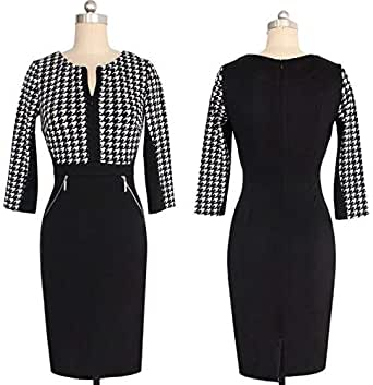 Autumn Work Elegant Patchwork Stretch Tunic Business Casual Office Formal Party Pencil Sheath Dress