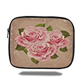 Laptop Sleeve Case,Rose,Pink Bouquet of Roses Retro Design Nature Love Romance Theme Grunge Display Decorative,Tan Pale Pink Green,iPad Bag