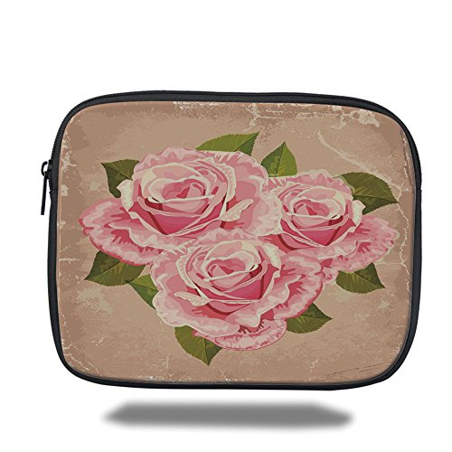 Laptop Sleeve Case,Rose,Pink Bouquet of Roses Retro Design Nature Love Romance Theme Grunge Display Decorative,Tan Pale Pink Green,iPad Bag by iPrint