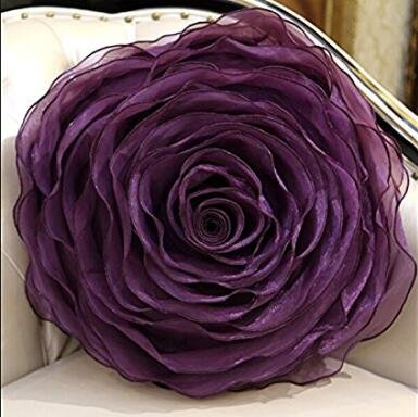 Organza Handwork Disk flowers Rose Round Pillow Romantic Wedding Gift Pillow Bed Cushion with Pillow core dark purple Diameter 15.7 Inch