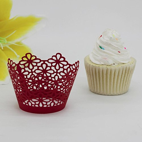25 PCS Cake cups,Morecome Lace Laser Cut Cupcake Wrapper Liner Baking Cup Muffin (Red)