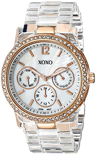 XOXO Women's XO5528 Clear Bracelet with Rhinestones on Rose Gold Case Watch ()