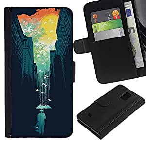 For Samsung Galaxy S5 Mini / Galaxy S5 Mini Duos / SM-G800 !!!NOT S5 REGULAR! ,S-type® Art Nature Colorful Minimalist Teal - Dibujo PU billetera de cuero Funda Case Caso de la piel de la bolsa protectora