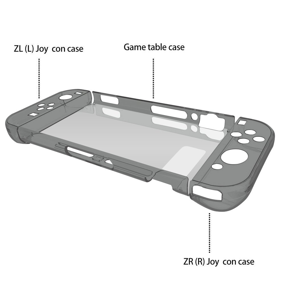 Vorida Case Compatible for Nintendo Switch, Crystal Case Hard Back Clear Cover Anti-Scratch & Shock-Absorption 9H Tempered Glass Screen Protector + Joy Con Grip Caps (Grey)