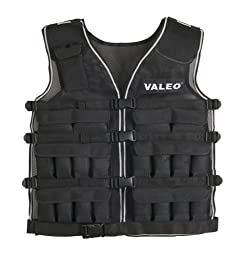 Valeo WV40 40-Pound Weighted Running And Workout Vest With Removable 1 Pound Packs For Adjustments From 1-40 Pounds And Four Adjustable Front Clip Belts