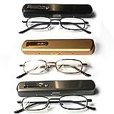 EYE-ZOOM 3 Pack Slim Metal Reading Glasses with Spring Hinge Lightweight Pocket Aluminum Case, Black, Gold and Gunmetal Reader for Comfort Fit Men and Women,+1.00 Strength