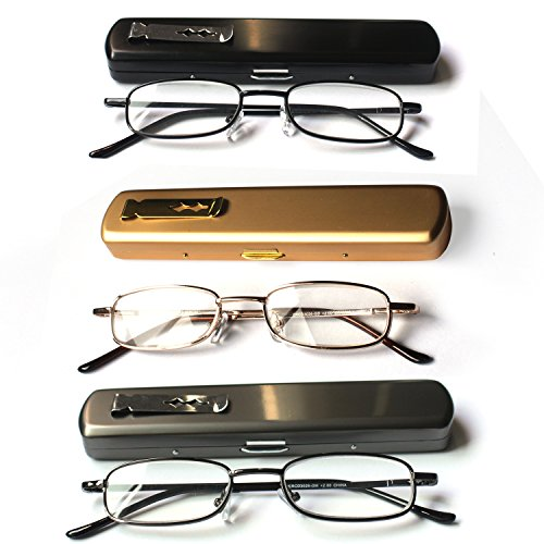(EYE-ZOOM 3 Pack Slim Metal Reading Glasses with Spring Hinge Lightweight Pocket Aluminum Case, Black, Gold and Gunmetal Reader for Comfort Fit Men and Women,+2.75 Strength)