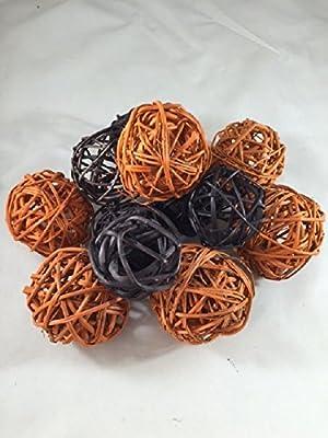 Decorative Spheres Orange And Black Rattan Ball Vase Filler Halloween Decoration Ornament Party Decor Black and Orange Bowl Filler By Wreaths For Door