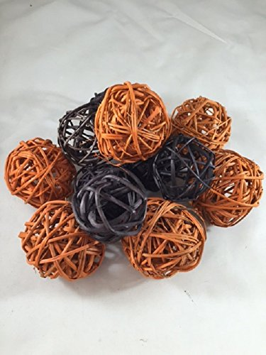 Wreaths For Door Decorative Spheres Orange and Black Rattan Ball Vase Filler Halloween Decoration Ornament Party Decor Black and Orange Bowl Filler ()
