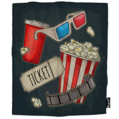 Flannel Popcorn - Mugod Cinema Blanket Popcorn Beverages with Straw Ticket Film Strip 3D Color Glasses Fuzzy Soft Cozy Warm Flannel Throw Blankets Decorative for Boys Girls Toddler Baby Dog Cat 40x50 Inch