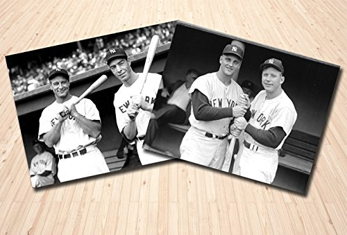 Lou Gehrig Memorabilia - New York Yankees Lou Gehrig and Joe DiMaggio Together in 1937. AND Mickey Mantle with Roger Maris In 1961. 2 8x10 Photos In One Package!