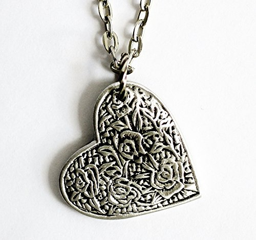 Heart Necklace Repurposed Pewter Button Pendant Rose Floral ()