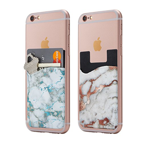 (Two) Marble Cell Phone Stick on Wallet Card Holder Phone Pocket for iPhone, Android and All Smartphones. (Cream)