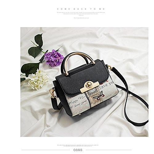 Yoome Print Tiny Crossbody Handtaschen Cross Pattern Top Griff Satchel Elegante Taschen Für Frauen - Navy Grau tfG6QhcM