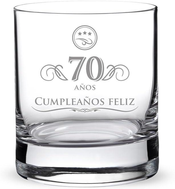 AMAVEL Vaso de Whisky para Hombres de Vidrio Grabado 70 Años Capacidad 320 ml