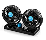 Electric Car Fans - 360° Rotatable Dual Blade 2 Speed 12 Volt DC Fan with 6FT Cord - Windshield Defroster - Efficiently Blow Away Hot Air Smoke Smell & Bad Odors