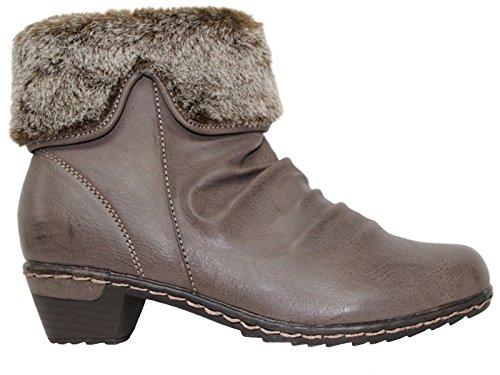 Foster Footwear Ladies 225piel sintética de Antonio Dolfi Knit borde de piel sintética Mid bloque talón tobillo Chelsea botas tamaño 3–9 gris