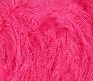 """Faux Fur Fabric Long Pile Gorilla HOT PINK / 60"""" Wide / Sold by the yard"""