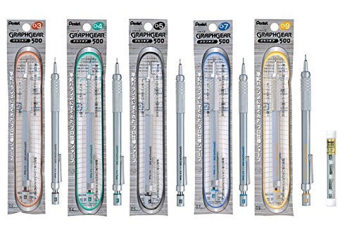 Pentel The Full Set of Packaged Graph Gear 500 Mechanical Drafting Pencil, 0.3, 0.4, 0.5, 0.7, 0.9mm For Pro with Eraser Refill (Z2-1N) Pack of 4, 1 Each by Pentel