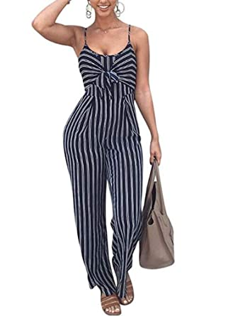 84b281b01451 Amazon.com  GLUDEAR Women Sexy Spaghetti Strap Striped Cut Out Back Wide  Leg Jumpsuit Romper  Clothing