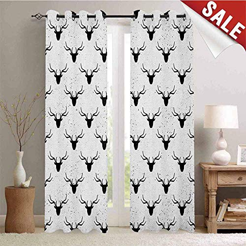 Deer Waterproof Window Curtain Deer Head with Antlers Silhouette Form Stained Worn Background Animal Illustration Decorative Curtains for Living Room W96 x L108 Inch Black White