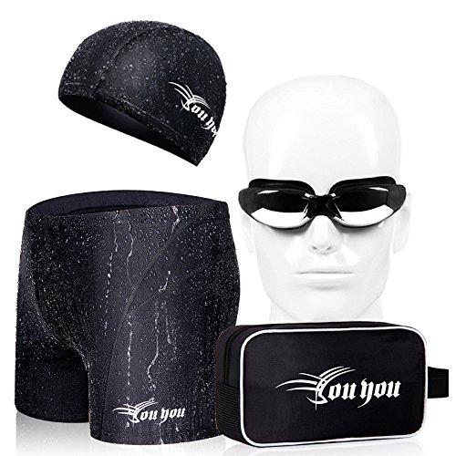 ZQ@QXSéchage rapide pour hommes Taille Boxer maillot de bain,3XL,black