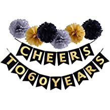Cheers To 60 Years Banner Birthday Wedding Anniversary Party Decoration Supplies (60th)