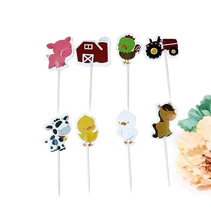 STOBOK 24 pcs Topper Cupcake de Animales para decoración Tarta De Cumpleaños para niños