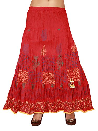 In-Sattva Colors Womens Full length skirt with printed fabric, Maroon