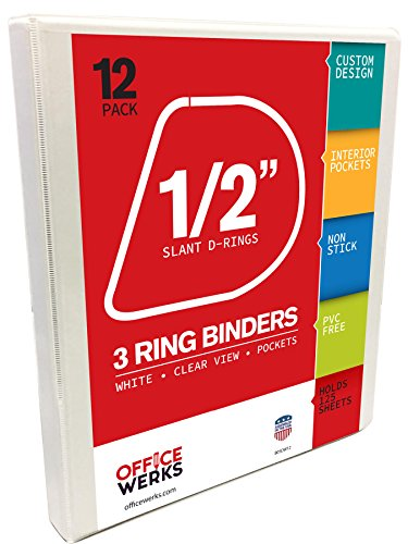 3 Ring Binder, Professional D Ring Half Inch/ .5 Inch Binder for Pages 8.5 x 11 With Pockets, Clear View White Binder ()