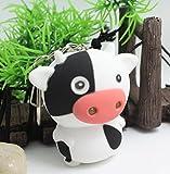 1 Pc Mini Pocket Little Cow LED Flashlight with Sound Keychain Keyring Keyfob Ox Animal Cartoon Key Chain Ring Fob Tag Holder Finder Necklace Immaculate Popular Cute Wristlet Utility Keychains Tool
