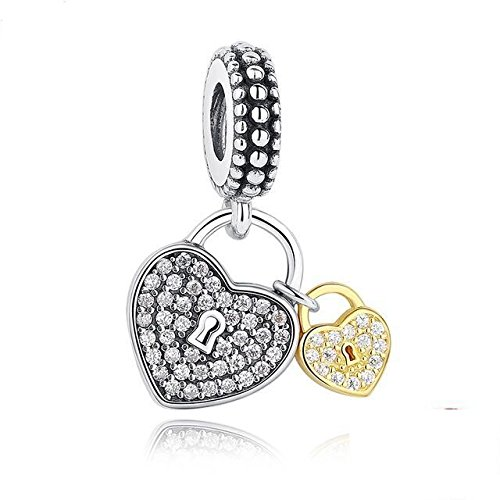 Two Heart/Love Locks Charm 925 Sterling Silver Beads fit for Fashion Charms Bracelets (925 Lock Silver)