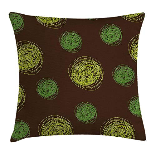 (Funny Throw Pillow Cushion Cover, Round Doodles Spots in Green Tones Spirals Swirled Big Funky Dots Pattern, Decorative Square Accent Pillow Case, 18 X 18 Inches, Chocolate Lime Green)