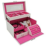 4Queens Girls Jewelry Box White Pu Leather with Makeup Mirror Watch Display ...