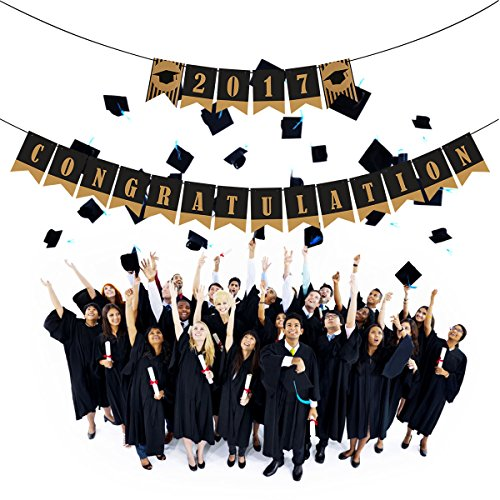 Buy Discount PBPBOX Graduation Banner 2017 CONGRATULATION Signs with Black Ribbons Graduation Part...