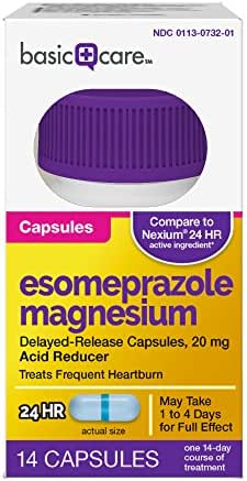 Amazon Basic Care Esomeprazole Magnesium Delayed-Release Capsules, 20 mg, 14 Count