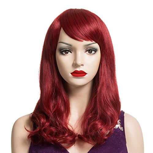 DAOTS Medium Length Wig with Bangs Heat Resistant Synthetic Curly Wigs for Women Girls Cap and Bobby Pins Included (Wine (Red Wig With Bangs)