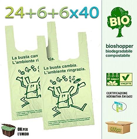 Palucart® - 500 bolsas de compra biodegradables compostables de ...