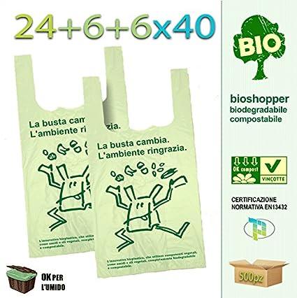 Palucart® - 500 bolsas de compra biodegradables compostables de acuerdo con las directivas de 2018 (24 + 6 + 6 x 40 cm)