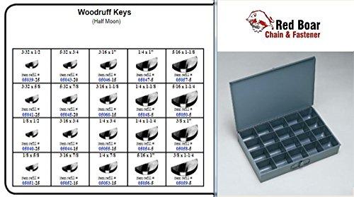 "Woodruff Keys (Half Moon) in 20 Hole Metal Tray Assortment (13-3/8""w x9-1/4""d x 2""h) by RED BOAR Chain"