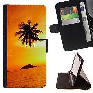 Momo Phone Case / Flip Funda de Cuero Case Cover - Puesta del sol anaranjada Negro Oro Tropical Island - Samsung Galaxy J3 GSM-J300