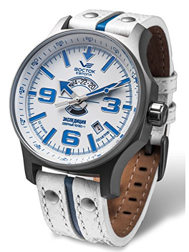 Vostok-Europe Expedition Russian White Blue Automatic Watch 2432/5955272 Limited Edition