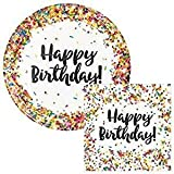 Creative Converting Sprinkles Birthday 9'' Plates (16) Napkins (16) Party Bundle