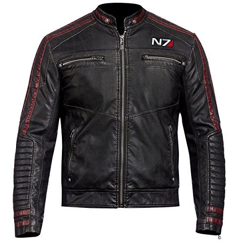 (Mass Effect 3 Mens Jacket - N7 Cafe Racer Leather Jacket for Men (Black - Mass Effect 3 N7 Mens Motorcycle Jacket, M/Body Chest 40