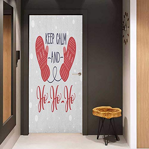 Onefzc Glass Door Sticker Decals Keep Calm Christmas Fun Theme with Snowfall Seasonal Gloves Ho Ho Ho Santa Print Door Mural Free Sticker W30 x H80 Pale Grey Dark Coral