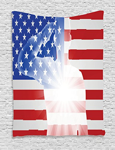 American Flag Decor Tapestry by Ambesonne, Soldier in front of Flag Memorial Day 4th of July Veteran Naval Army Image, Wall Hanging for Bedroom Living Room Dorm, 40WX60L Inches, Multi