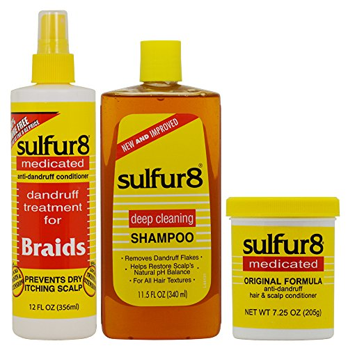 - Sulfur8 Anri-Dandruff Shampoo 11.5oz + Conditioner + 7.25oz + Braids Treatment (Set)