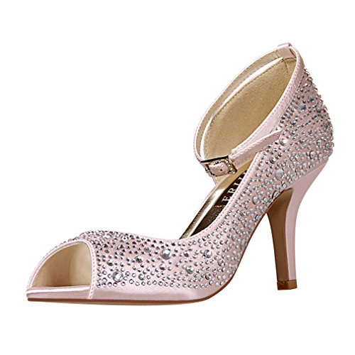 ERIJUNOR E8736 Women's Peep Toe High Heels Ankle Straps Rhinestones Satin Shoes for wedding Prom Party Pink US 5