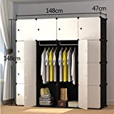 Yigui Portable Clothes Closet Wardrobe Bedroom Armoire Dresser Cube Storage Organizer,Space Saving,Ideal Storage Organizer Cube For Books, Toys, Towels,16 Cubes& 2 Hanging Sections